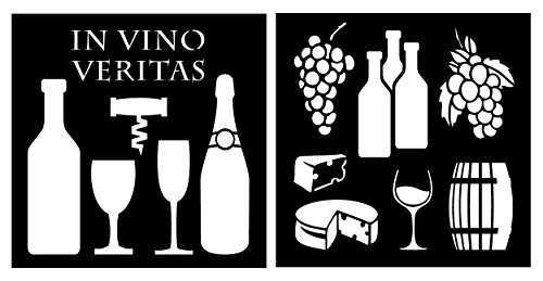 (Auto Vynamics - STENCIL-WINESET01-20 - Detailed Wine, Cheese, & Accessories Stencil Set - Featuring Wine Bottles, Glasses, Grapes, & More! - 20-by-20-inch Sheet - (2) Piece Kit - Pair of Sheets)