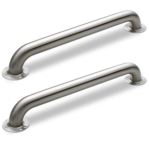 AmeriLuck Bath Grab Bar Exposed Flanges 18in x 1.5in, 500lbs Loading Capacity ADA Compliance, Stainless Steel Brushed Nickel (2 Pack) (18in)
