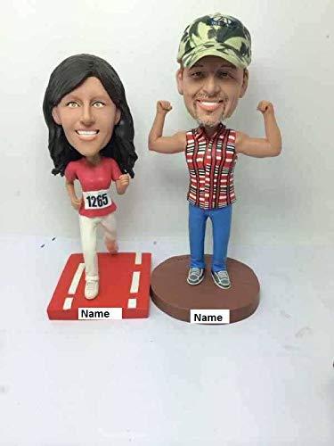 two people Runner Bobblehead Runner Personalized Wedding Cake Topper Runner Gift Runner Birthday Runner Cake Topper Runner Girlfriend Gift Boyfriend (2 Bobble Head Custom)