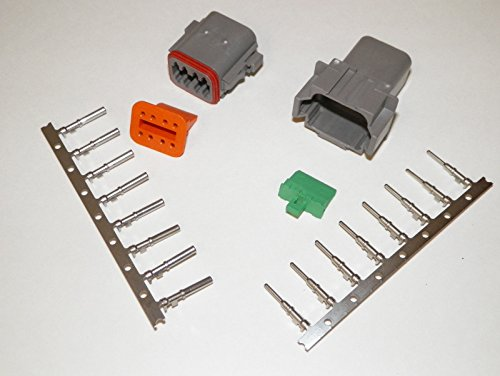 8 Pin Connector (Deutsch 8-pin Connector Kit W/housing, Terminals, Pins, and Seals 14-16 Gauge Crimp Style)