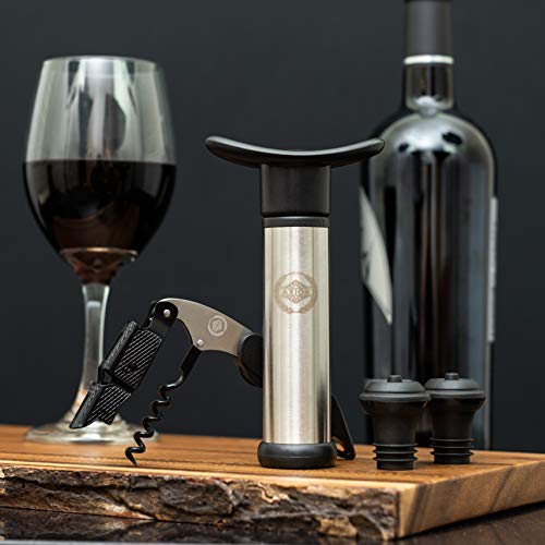 Wine Stoppers, Wine Bottle Opener, Vacuum Pump Wine Preserver with Corkscrew from AXIOS - Cool Gift Accessories for Wine Lovers