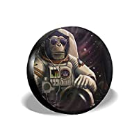 Homlife Spare Tire Cover - 17 Inch Waterproof Universal Wheel Tire Cover Protector - Monkey Astronaut in Space Fit for Jeep,Trailer, RV, SUV and Many Vehicle - 4