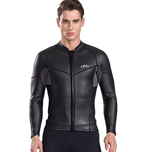 - Cahayi Women Men 2mm Neoprene Long Sleeve Diving Jacket Front Zipper Wetsuit Top