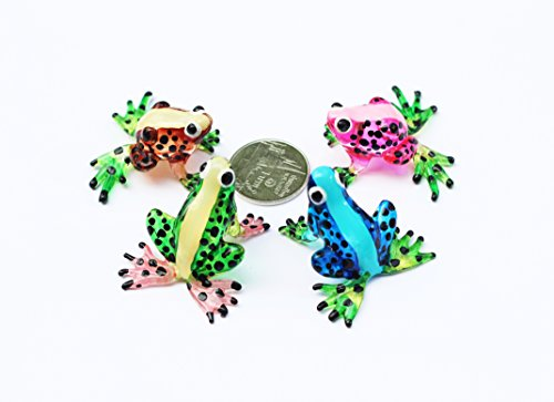 IBLE MINIATURE HAND BLOWN Art GLASS New Fancy Frog FIGURINE (Collectable Miniature)