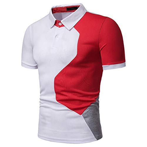 POQOQ T Shirts Polo Tops Blouse Men's Fashion Short Sleeve Splicing Painting Large Size Casual Top Blouse Shirts XL White ()