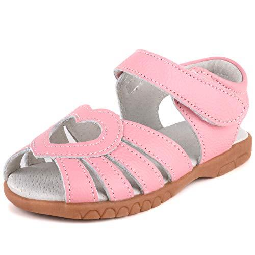 Femizee Kid Girls Leather Sandals Heart Décor Toddler Little Girls Princess Dress Sandal Shoes,Pink Heart,1539 CN22