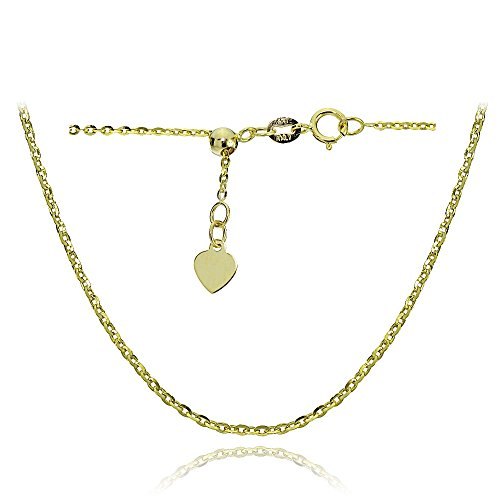 14K Yellow Gold 1.4mm Diamond-Cut Cable Adjustable Italian Chain Anklet, 9-11 Inches by Bria Lou