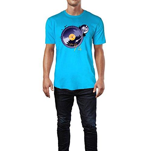 SINUS ART ® Plattenteller mit Splashes Herren T-Shirts in Karibik blau Cooles Fun Shirt mit tollen Aufdruck