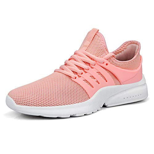 (QANSI Women Sneakers Running Tennis Walking Gym Casual Sneakers Hiking Shoes Pink Size 6)