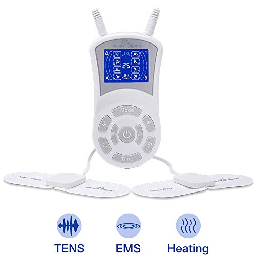 Easy@Home Professional Rechargeable TENS Unit + Heat Therapy + EMS, FDA Cleared, FSA Eligible Portable Pain Management and Muscle Stimulator Massager, Pain Relief Therapy Device EHE018 (Best Home Massage Products)