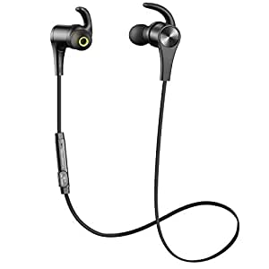 SoundPEATS Bluetooth Headphones In Ear Wireless Earbuds 4.1 Magnetic Sweatproof Stereo Bluetooth Earphones for Sports With Mic (8 Hours Play Time, Secure Fit, Noise Cancelling) - Black