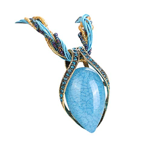 Challyhope Fashion Retro Bohemian Turquoise Stone Pendant Collar Statement Chunky Necklaces Rhinestone Gem Jewelry for Women Beach Hawaii (Blue) (Stunning Turquoise Necklace)