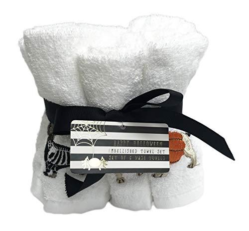 Cute Dachshund Bulldog & Boxer in Festive Halloween Costumes Set of 6 Embroidered Holiday Bathroom Wash Cloths Towel Set