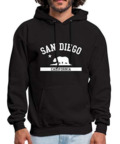 (Spreadshirt San Diego California State Men's Hoodie, S, Black)