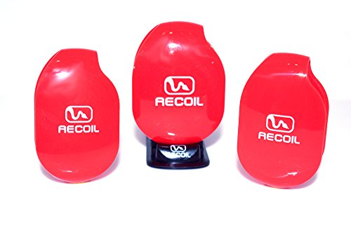 Recoil AUTOMATIC Cord Winder for Headphones, USB Cables and Chargers. 3Pack Combo-2 Medium & 1 Large Winder with Organizer Rack. Color Red. by Recoil Winders