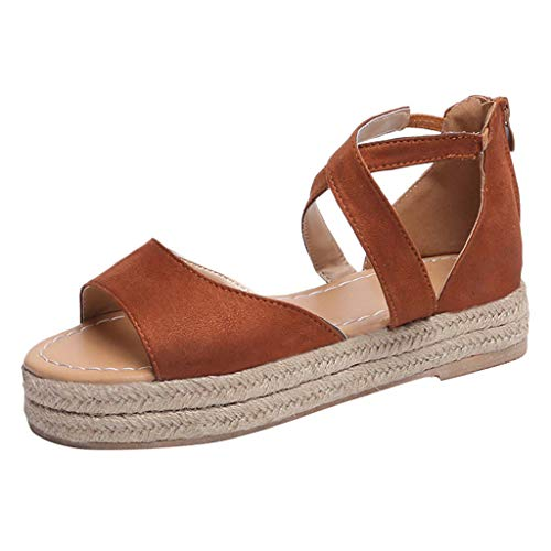 - Caopixx Womens Flatform Espadrille Strappy Open Toe Flat Platform Ankle Sandals Buckle Flats Sandals Brown