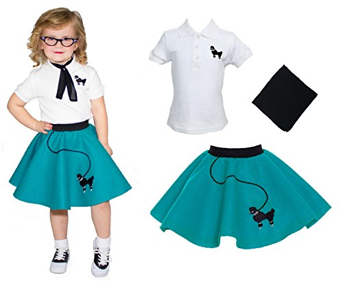 [Toddler 3 Piece Poodle Skirt Costume Set Teal 3T] (Greaser Outfit)