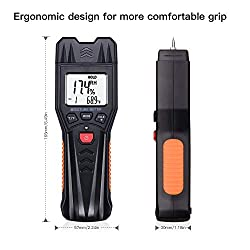 Digital Moisture Meter, Wood Building Materials Moisture Detector, Pin-Type Design with 7 Modes, Light-Indicating, Manual Calibration, Backlit LCD Display, Portable Bag & Battery Included - MWM03