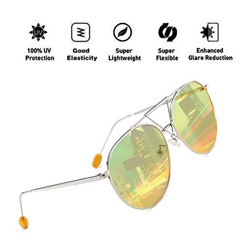 para PC Aviator Fashion UV400 HD Oversized Reflective Frame Sunglasses Protection Lens con Oval Eyewear Mujeres Amarillo ATNKE Hombres 84qdIx8w