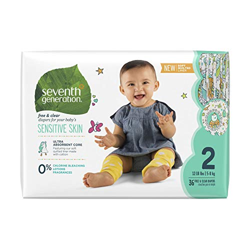 - Seventh Generation Baby Diapers for Sensitive Skin, Animal Prints, Size 2, 36 count (Packaging May Vary)