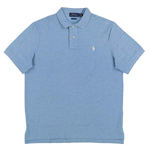Polo Ralph Lauren Mens Classic Mesh Polo Shirt (XXL, Soft Blue Heather)