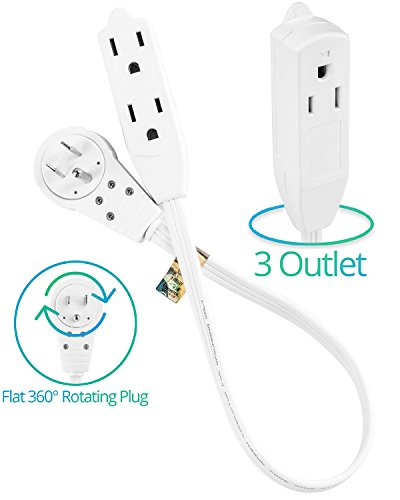 4627 10' extension cord wire, 3 prong grounded, 3 outlets, angled 3 Outlet Grounded Wire cable 1 ft 360� rotating flat plug extension cord wire, 12 inch multi outlet extension wire, 3 prong grounded wire white 3 wire grounded outlet