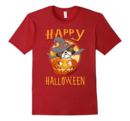 Mens Shih Tzu Dog Happy Halloween T-shirt Pumpkin Costumes Large Cranberry