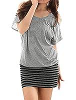 Allegra K Women Cut Out Shoulder Striped Panel Blouson Short Dresses