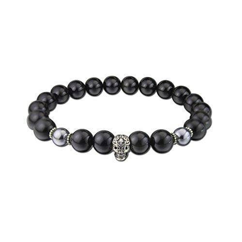 c63c312bc9d4 colorfey 10 mm para hombre pulseras de Gemstone hecho a mano con piedra  natural negro Obsidiana