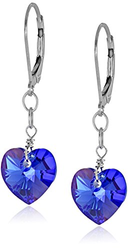Earrings Silver Heart Shape Sterling (Sterling Silver Swarovski Elements Sapphire Color Aurora Borealis Heart Shape Drop Earrings)
