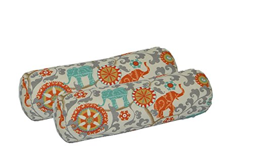 Set of 2 Indoor / Outdoor Decorative Bolster / Neckroll Pillows - Orange, Teal, Gray Bohemian - Pillow Bolster Neckroll
