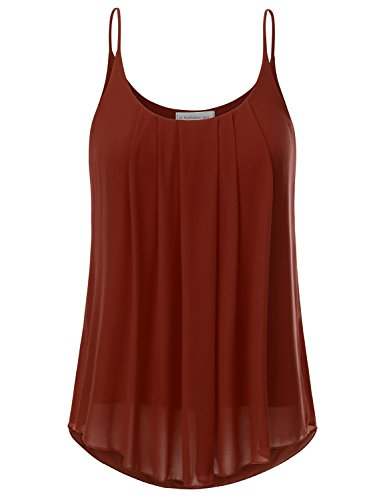 Cami Crepe - JJ Perfection Women's Pleated Chiffon Layered Cami Tank Top Rust 3XL