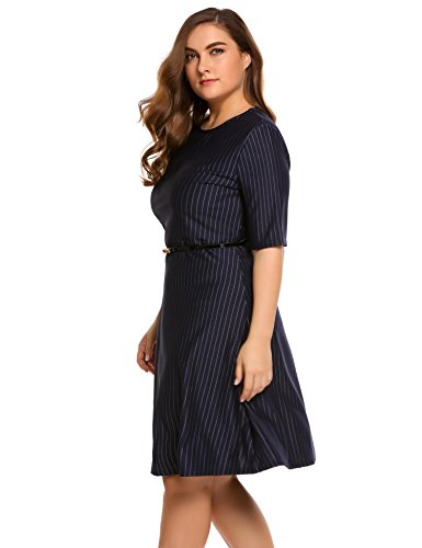 Involand Plus Size Vintage Dress Women Formal Evening Dresses Short Sleeve Party Dress with Belt at Amazon Womens Clothing store: