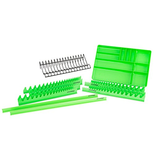 OEMTOOLS 22189 12 Piece Tool Organizer Set | Professional Mechanic Tool Chest Organizer | Drawer Dividers, Parts Trays, Magnetic Wrench Holders, Plier Rack Keep Tools Organized | Green & Black