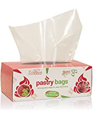 Craftit Edibles Disposable Pastry Bags, 200 Pack - 12 Inch Extra Thick in Dispenser box, Microwave safe by CiE - 3 Free piping bag ties included!