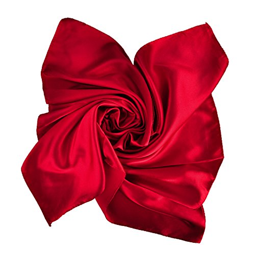 Women's Fashion Soft Satin Square Scarf Set Head Neck Multiuse Solid Colors Available (Deep red) -