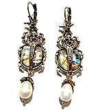 Abalone Shell Scarab Beetle Earrings Egyptian