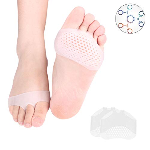 Metatarsal Pads Ball of Foot Cushions Soft Gel Ball of Foot Pads Mortons Neuroma Callus Metatarsal Foot Pain Relief Bunion Forefoot Cushioning Relief Women and Men - White