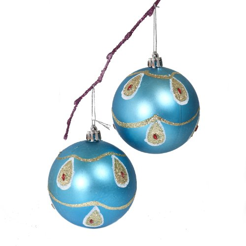 Perfect Holiday Handpainted 2-Piece Shatterproof Christmas Ornament Set, 3.14-Inch, Light Blue Matte Ball with Peacock and Acrylic Diamond