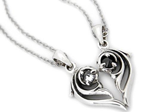 VELVY Silver 925 Reversible Heart Couple Pair Pendant Necklace Men's Women's (with paper bag BOX) tb320 by VELVY