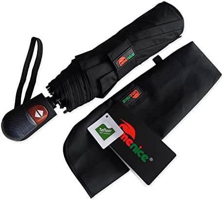 Umenice Automaitc 9-rib Travel Umbrella Windproof with 210t Fabric Teflon