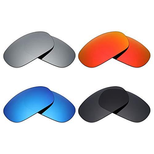 Mryok 4 Pair Polarized Replacement Lenses for Maui Jim Stingray MJ103 Sunglass - Stealth Black/Fire Red/Ice Blue/Silver Titanium