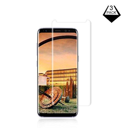[3-Pack] Galaxy S8 Screen Protector, Fitquipment 3D coverage HD Clear Anti-Scratch,Ultra-Clear Screen Protector Compatible with Samsung Galaxy S8 Clear.