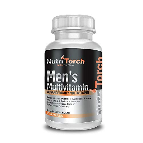 NutriTorch Multivitamin for Men - Adult Dietary Supplement with Carbohydrates, Vitamins A, C & D, Minerals & Antioxidants for Immune Support, Increased Energy & Mental Alertness - 60 Count