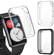 PUBUNUS 2 Piezas Funda con Protector de Pantalla Compatible con Huawei Watch Fit, Resistente a Rayones TPU Pro