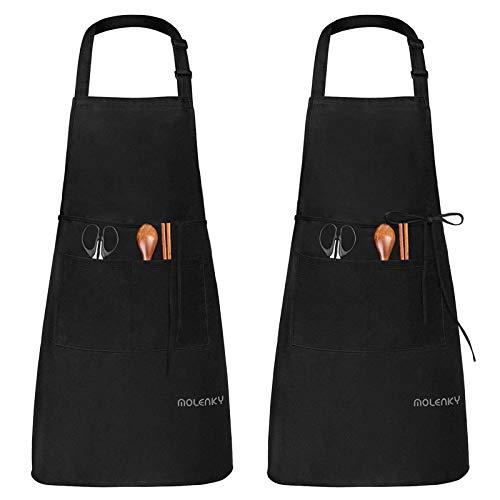Molenky schort,Verstelbare schort met 2 grote zakken, 2 STUKS Katoenen Chef-koksschortenset, Unisex Waterdichte…