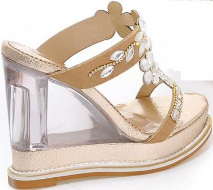 Laruise Women's Crystal Wedge Sandal Gold ZPVQhJ9