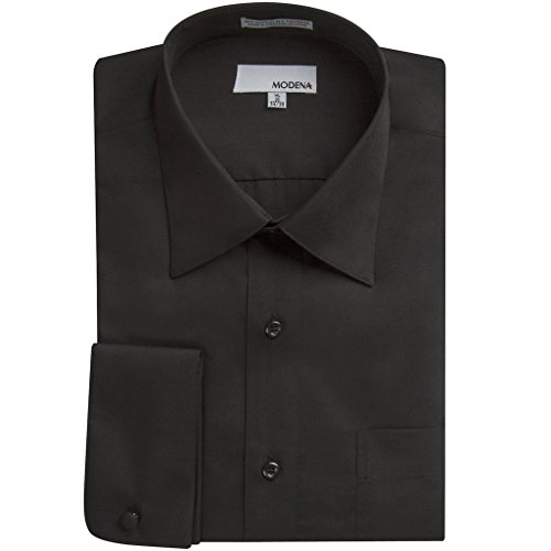 Mens Modena Solid Black French Cuff Dress Shirt - Size 20 34/35