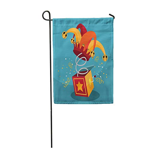 - Semtomn Garden Flag Jack in The Box Confetti Jester Hat and Laughing 12