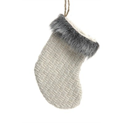 Faux Fur and Knit Stocking or Mitten Christmas Ornament (Stocking White Gray Fur)
